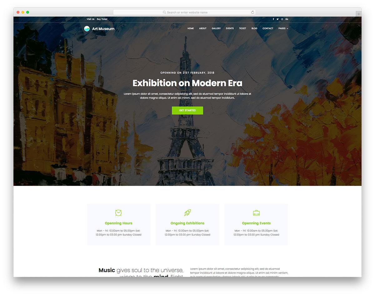 Скачать бесплатно html шаблон Art Museum