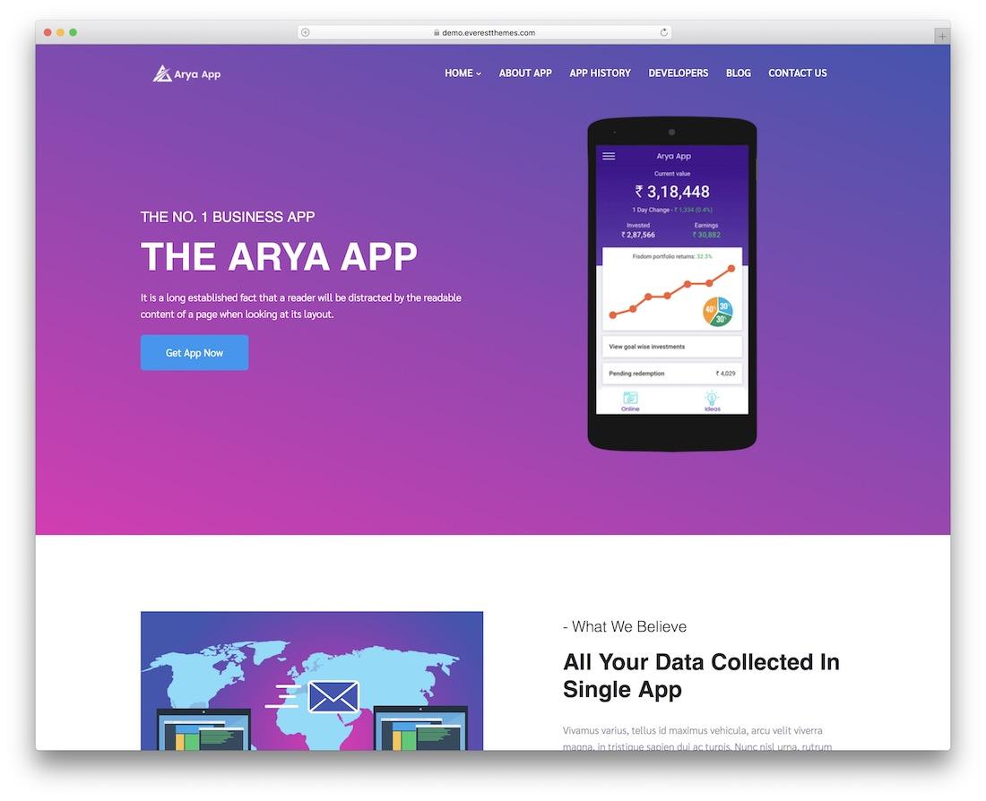 arya free flat design wordpress theme