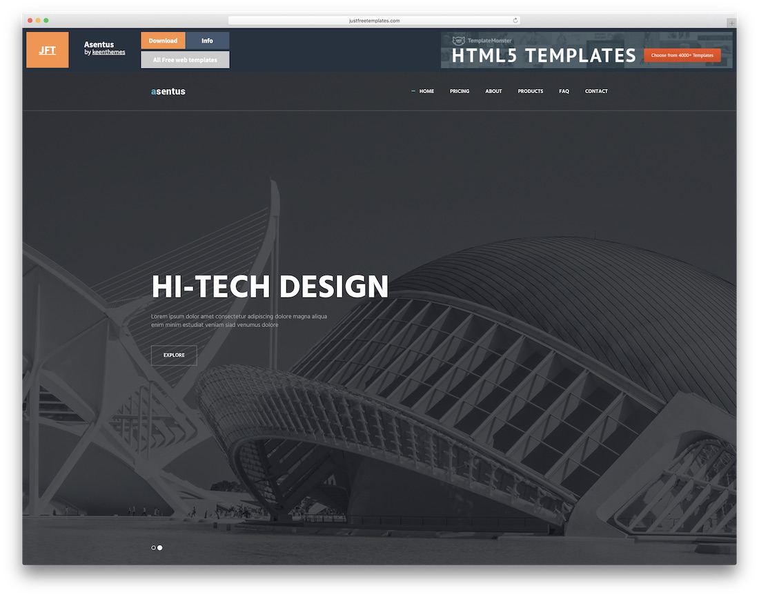 asentus free html5 website template