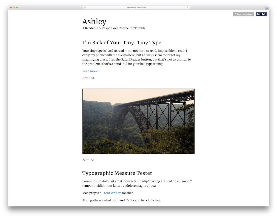 ashley free tumblr theme