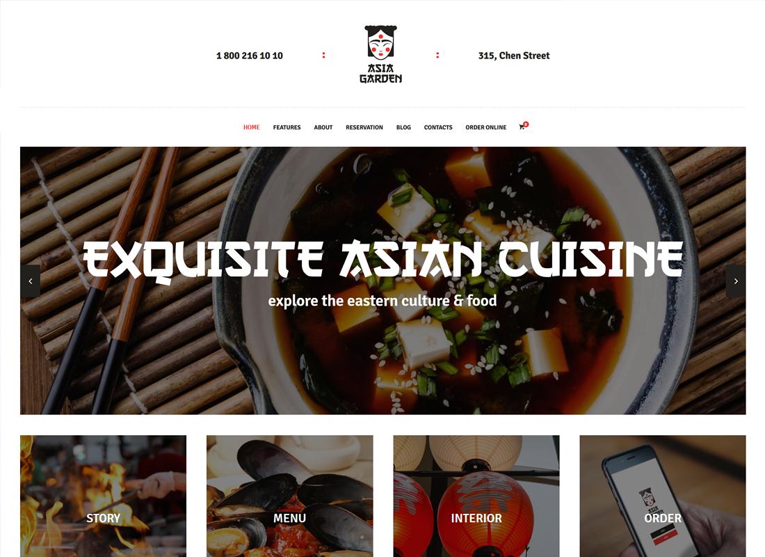 Asia Garden - Asian Food Restaurant WordPress Theme