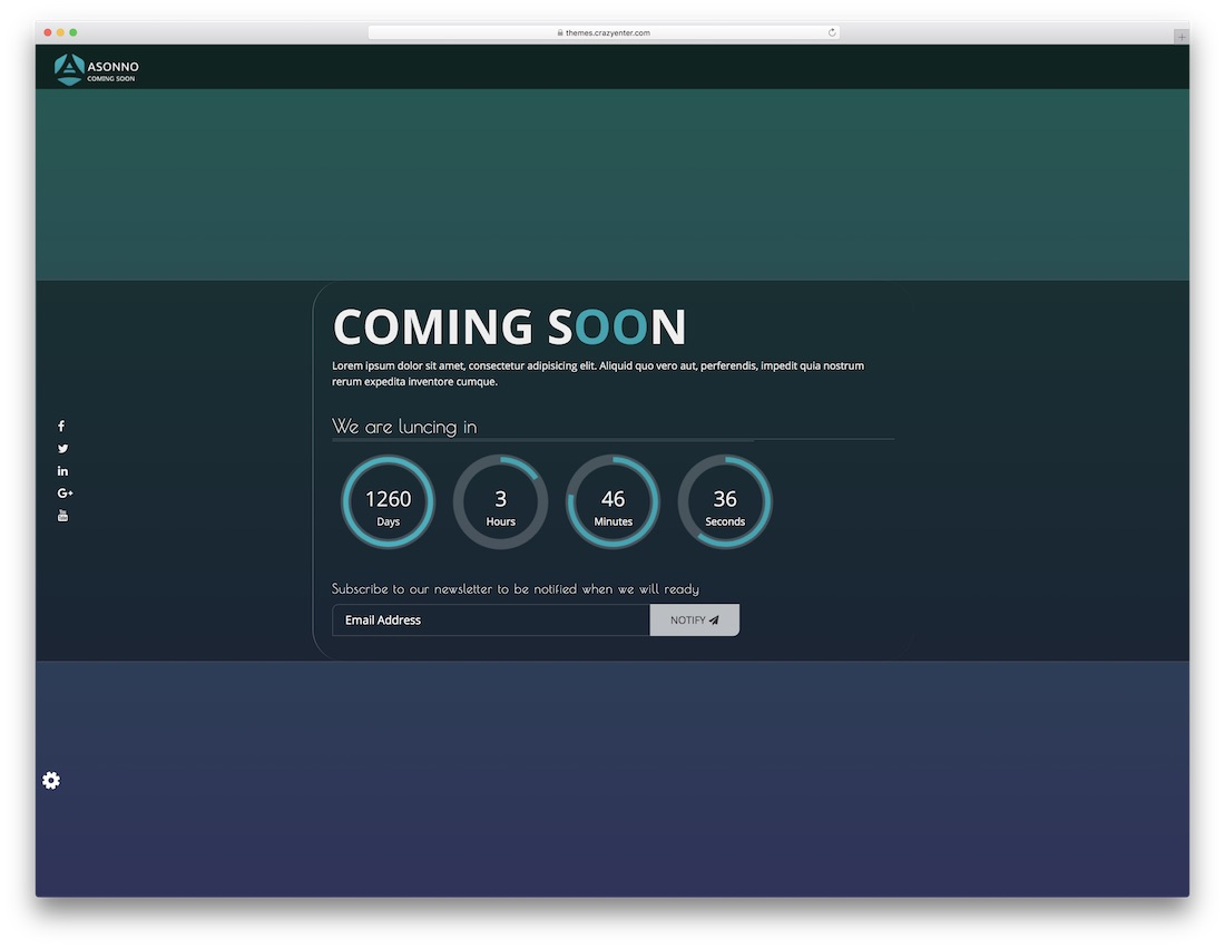 asonno coming soon website template