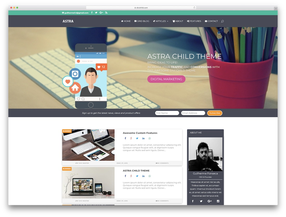 astra divi child theme