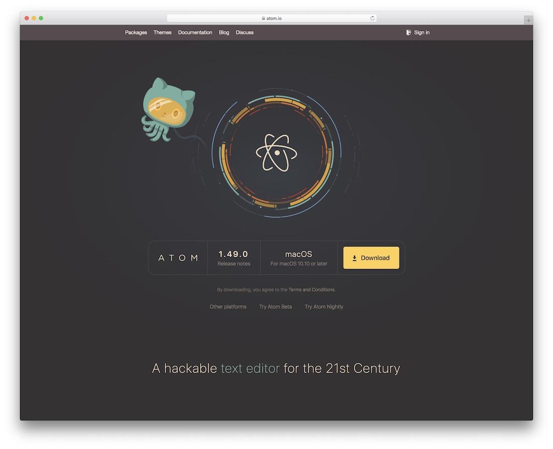 atom code editor for web designers