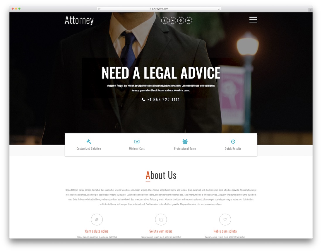attorney free lawyer website template