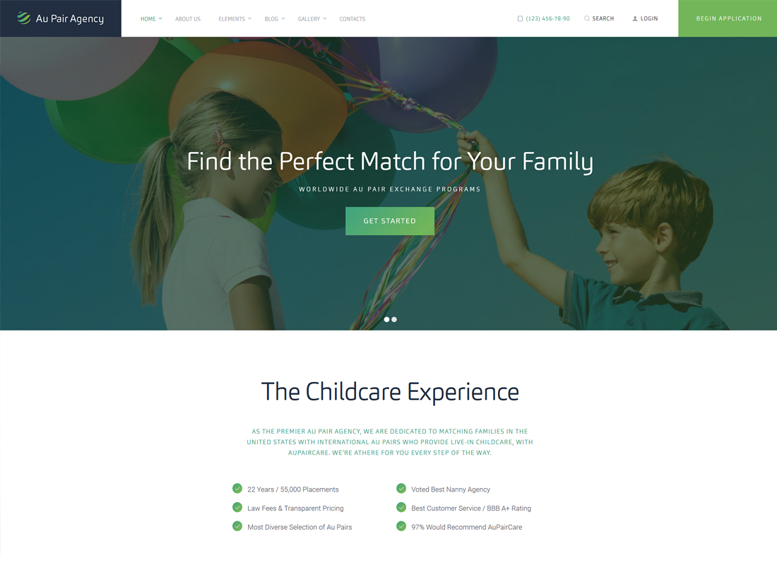 Au Pair Agency | Au-Pair, Babysitting & Nanny Agency WordPress Theme