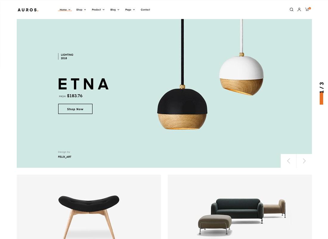 Auros | Furniture Elementor WooCommerce WordPress Theme