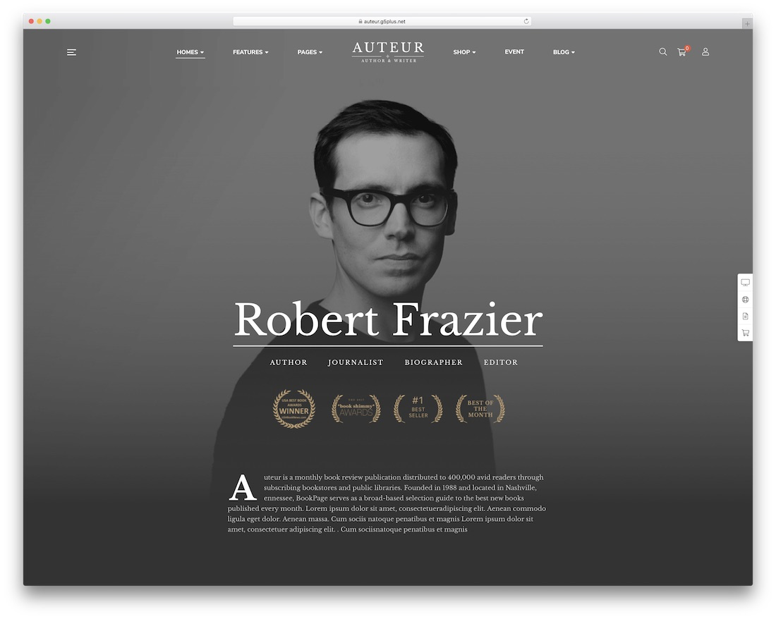auteur customizable wordpress theme