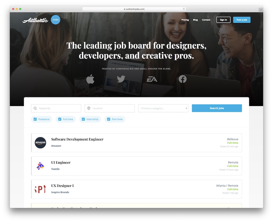 authentic jobs freelance marketplace