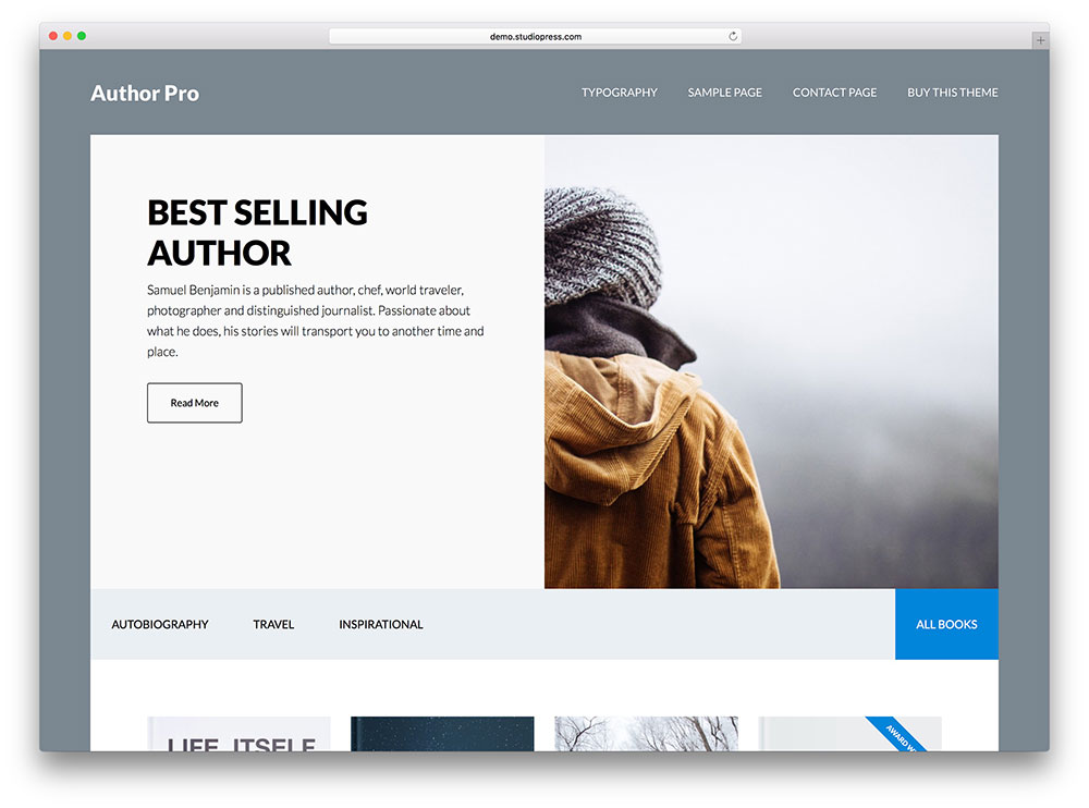 author - book author WordPress theme