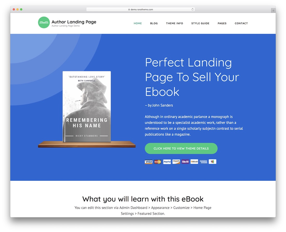 author landing page free wordpress theme