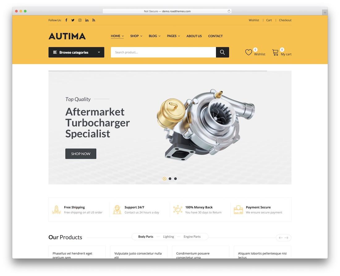 autima automotive wordpress theme