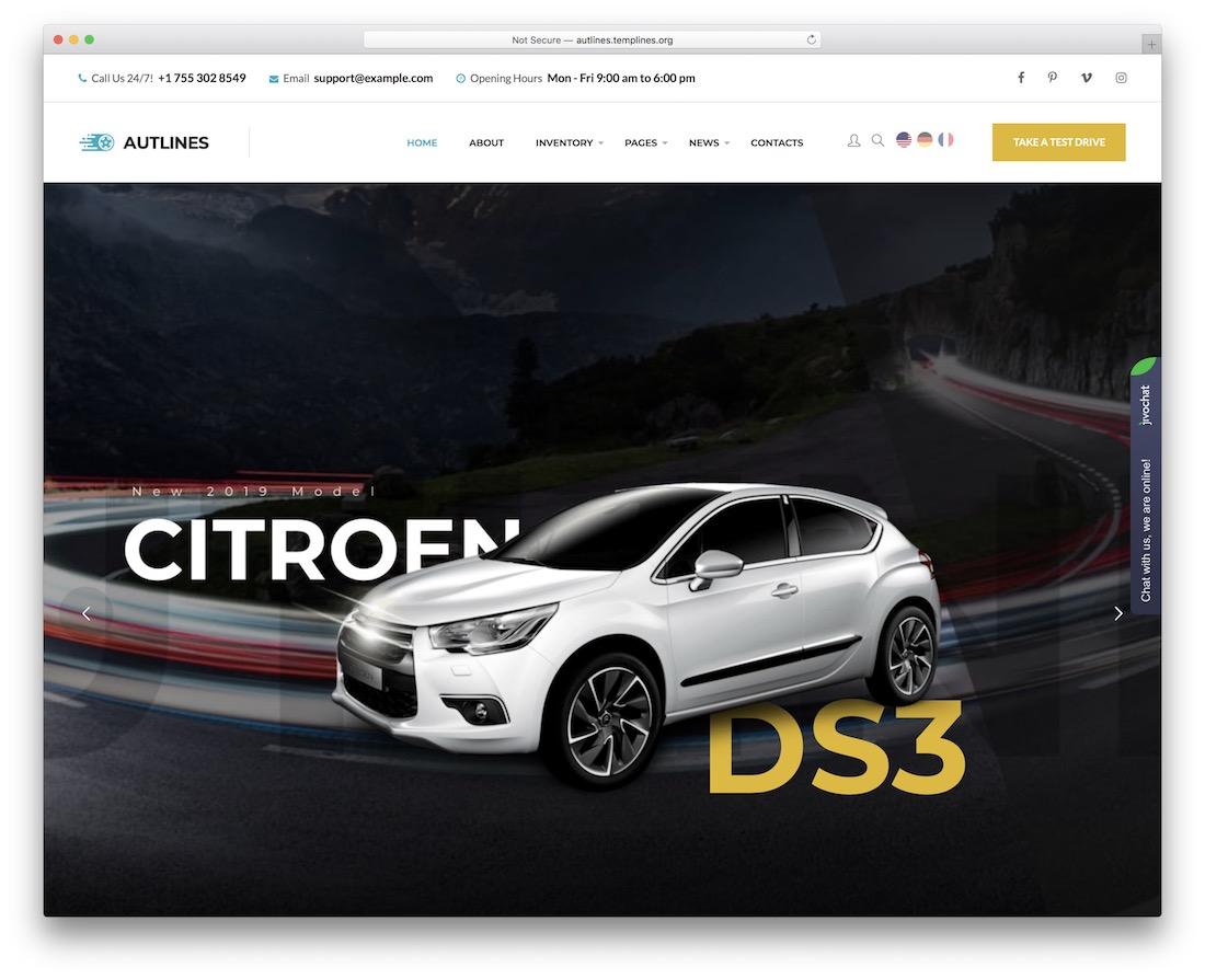 autlines car rental wordpress theme