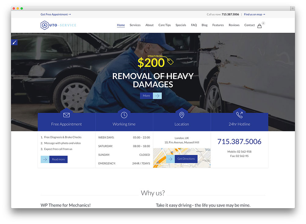 auto car repair WordPress theme