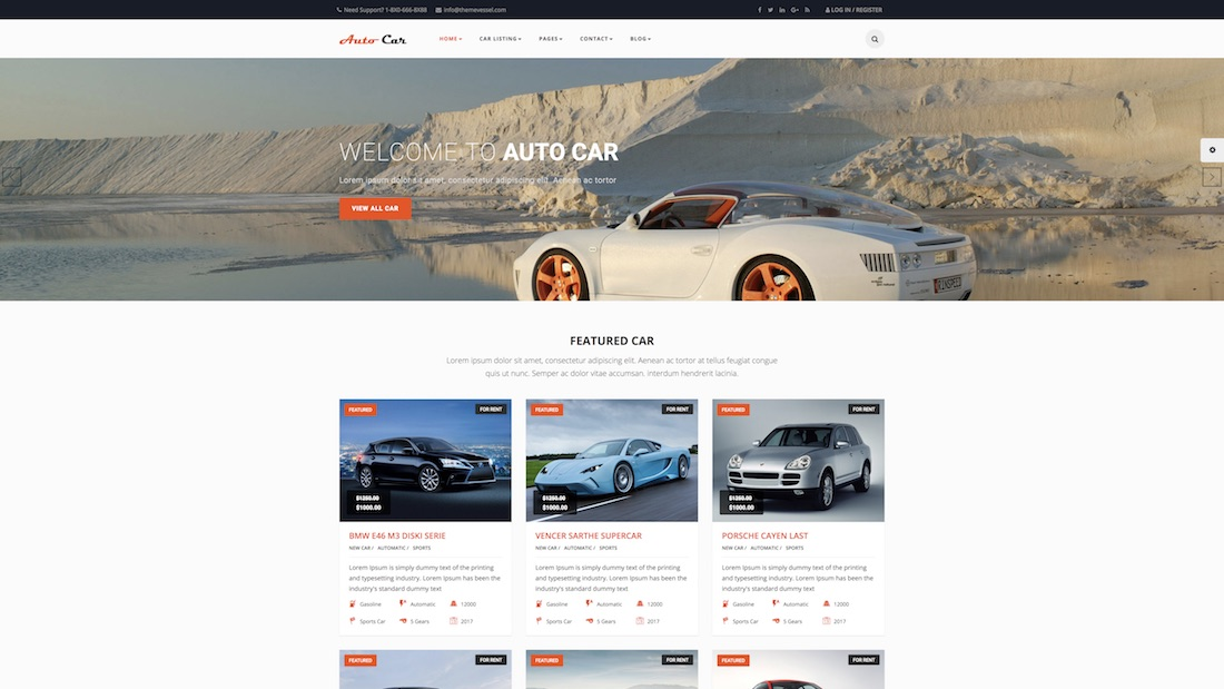 auto car website template