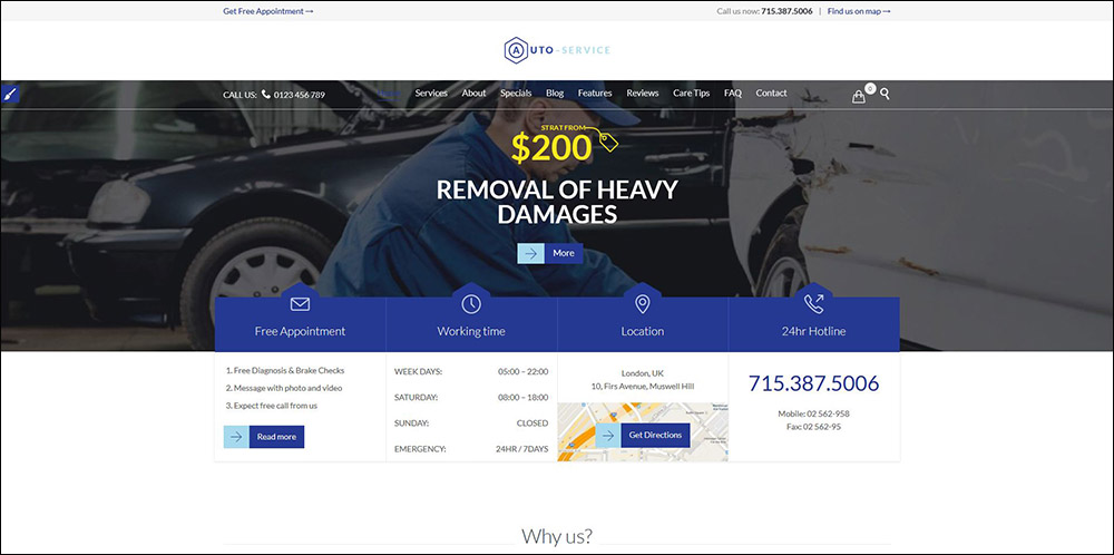 Auto Repair & Car Mechanic - Theme for Mechanic Workshops, Auto Repair and Cars