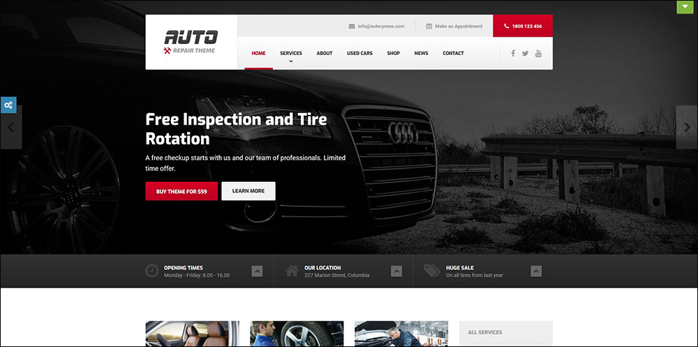 Auto Repair & Car Mechanic – Theme for Mechanic Workshops, Auto Repairs and Cars
