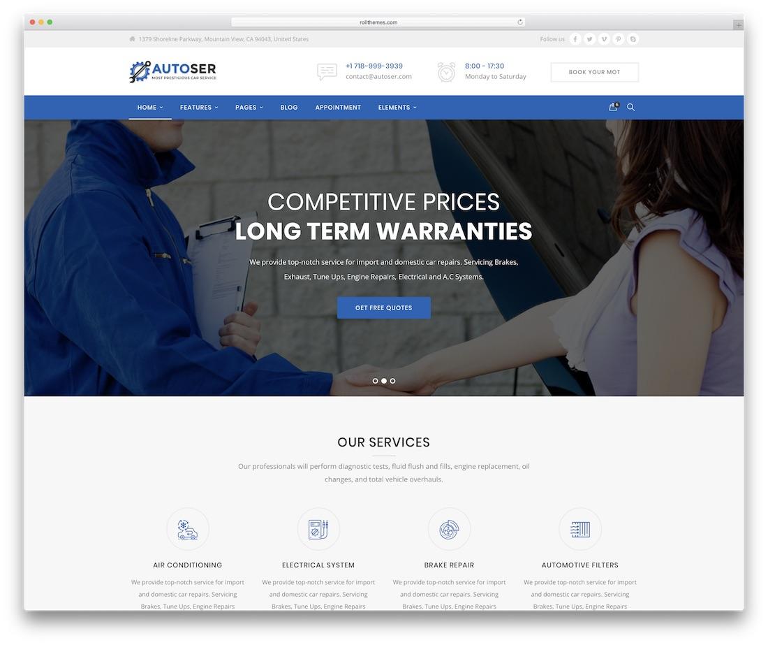 auto service automotive website template