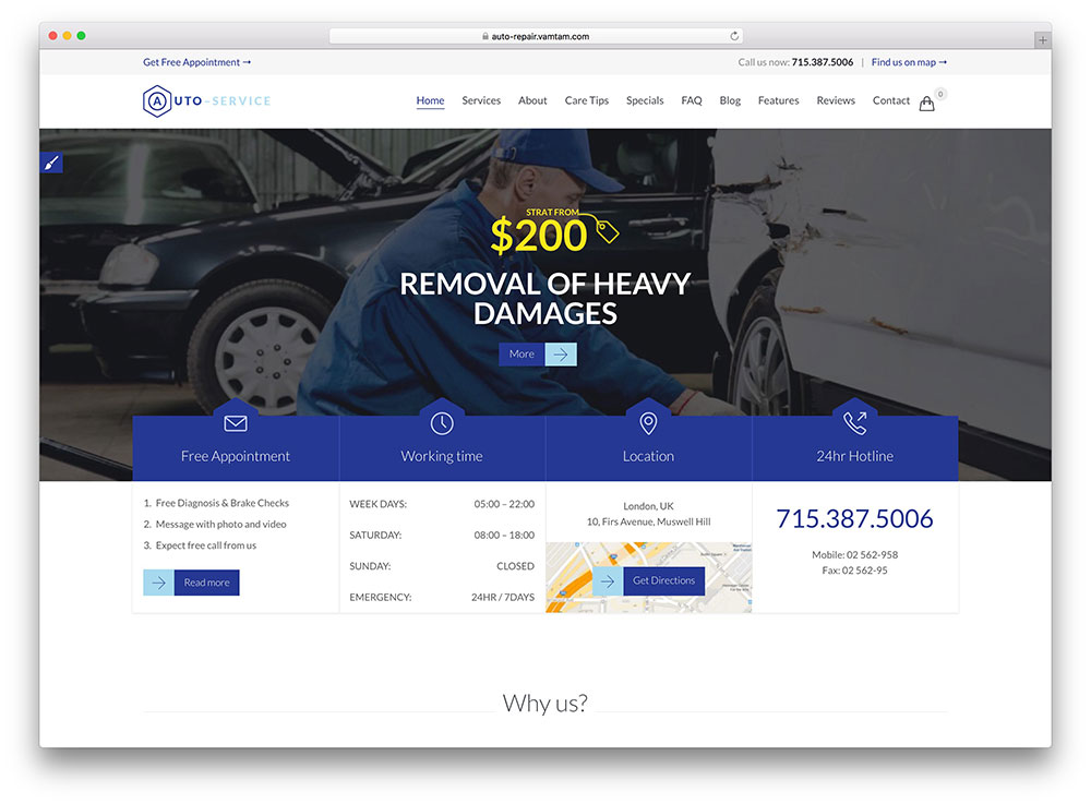 auto service wordpress theme