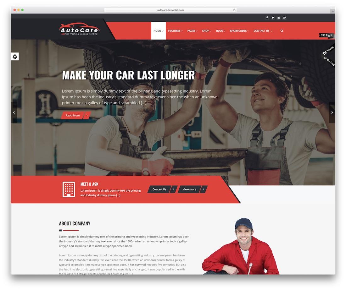 autocare automotive website template
