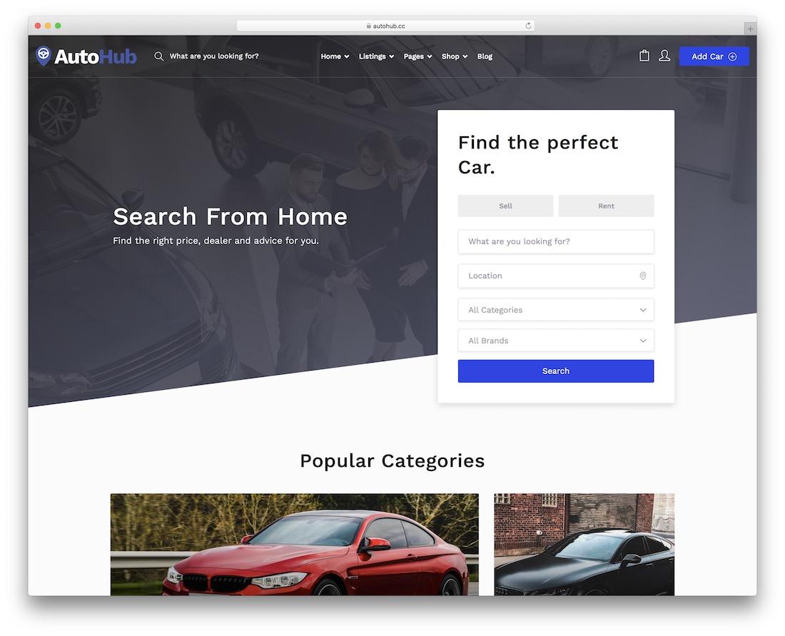 autohub automotive wordpress theme