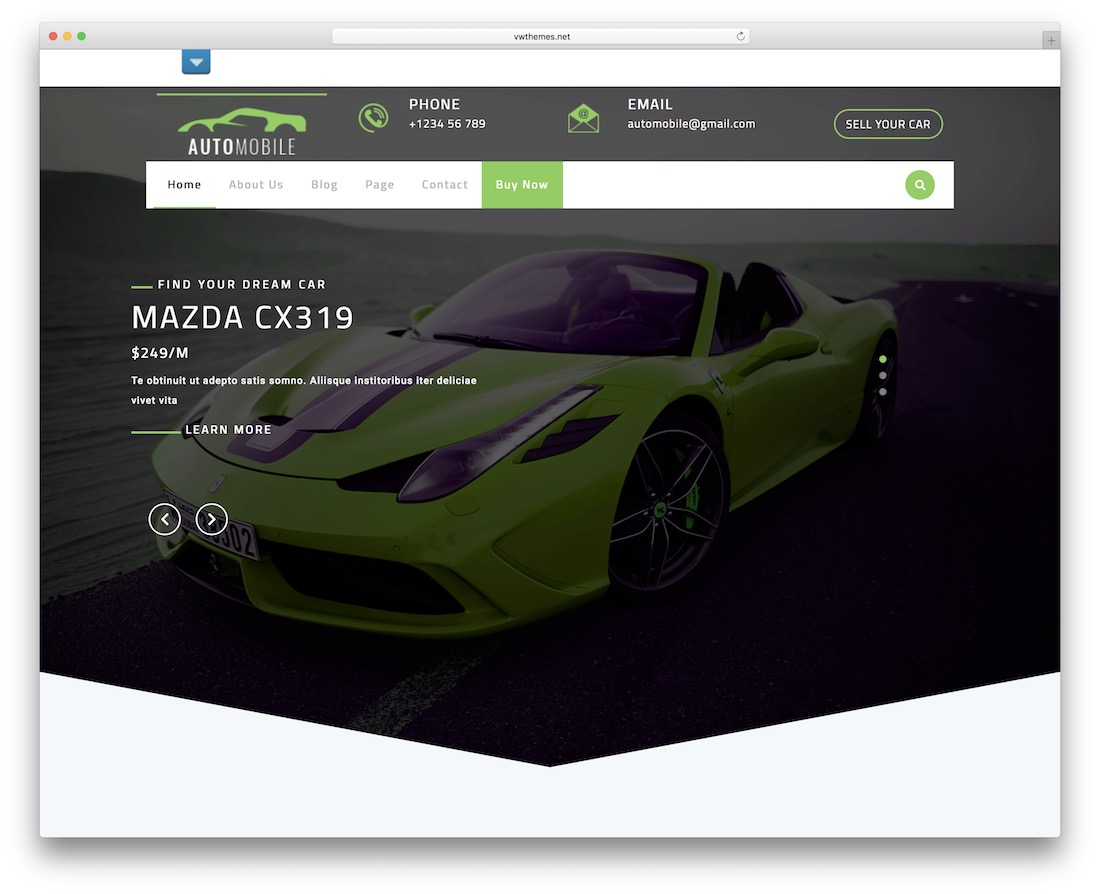 automotive centre free wordpress theme