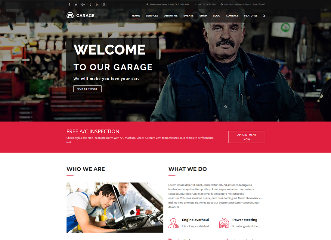 Automotive WordPress Theme - Garage