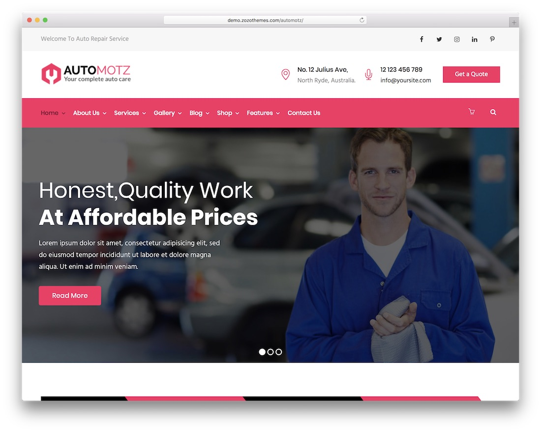 automotz auto service wordpress theme