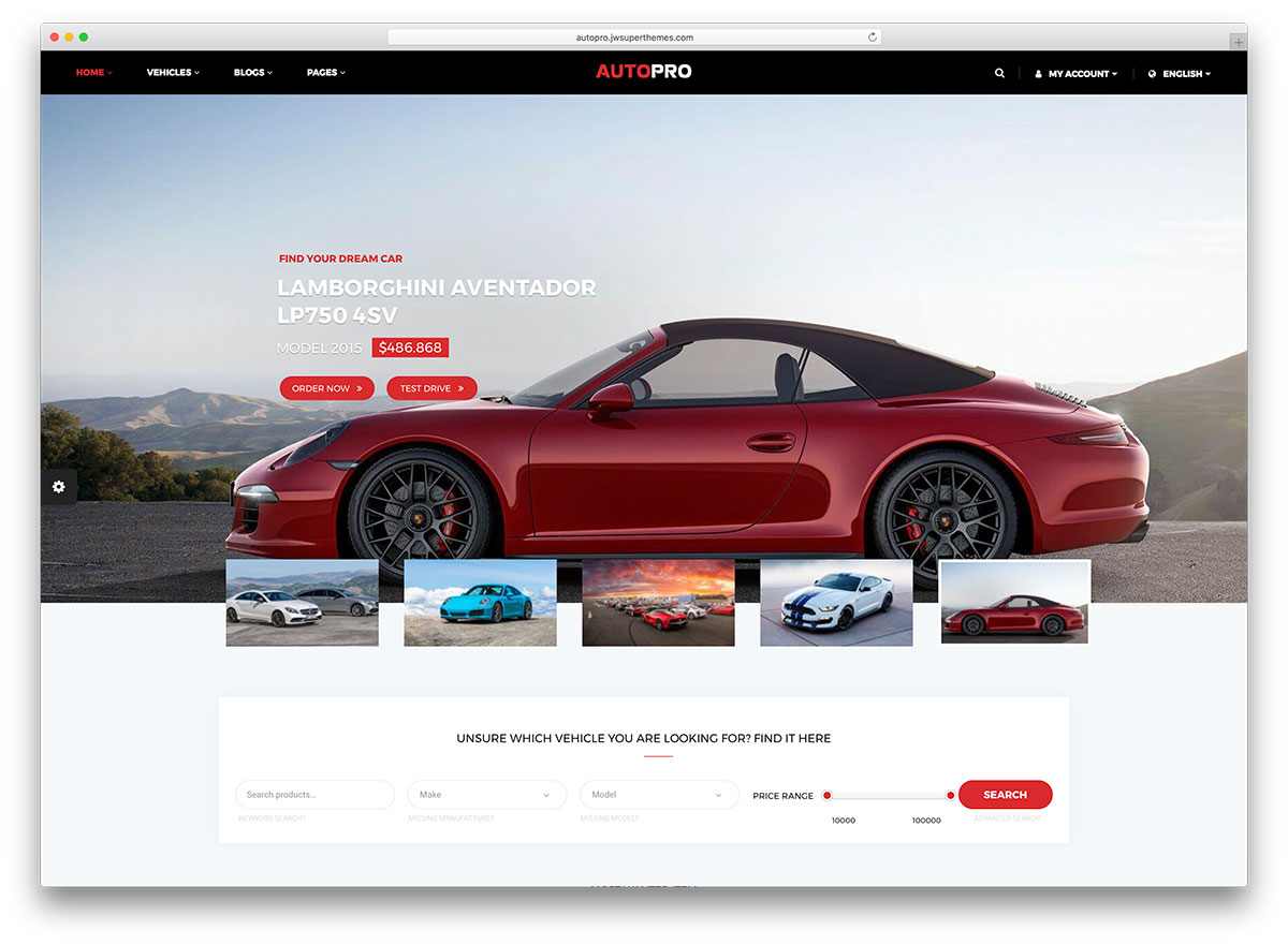 car dealer WordPress theme