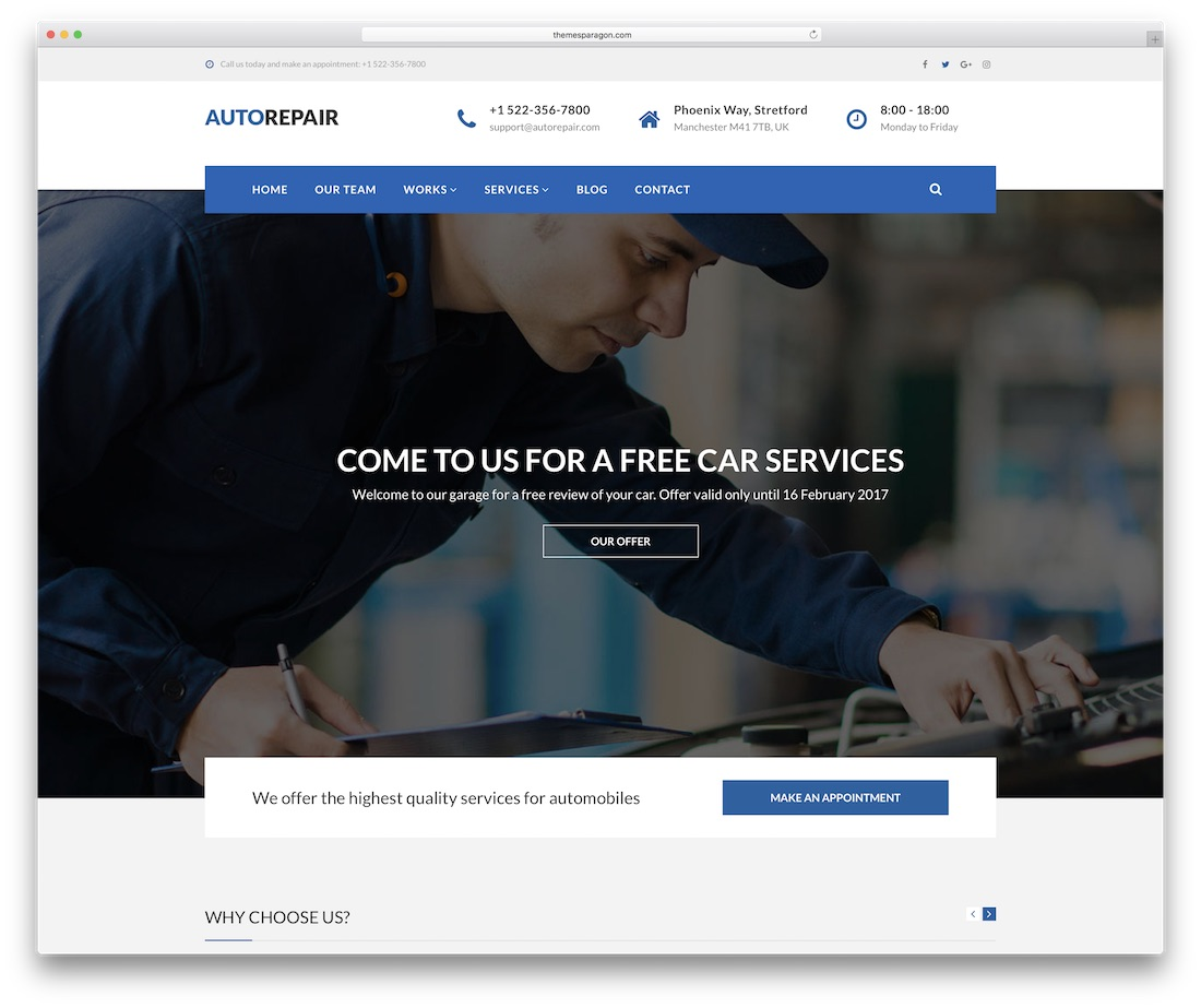 autorepair automotive website template