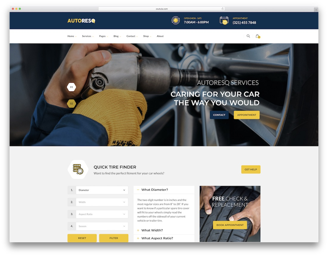 autoresq auto service wordpress theme