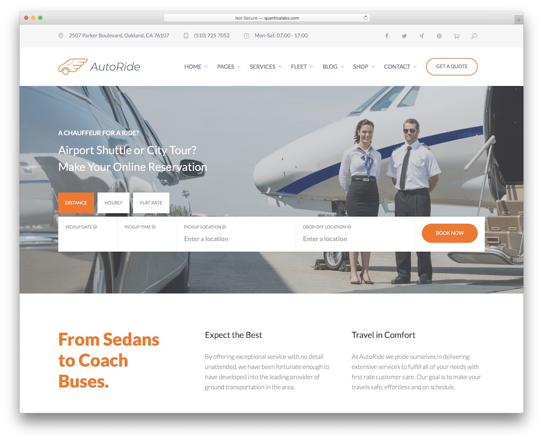autoride limousine services wordpress theme