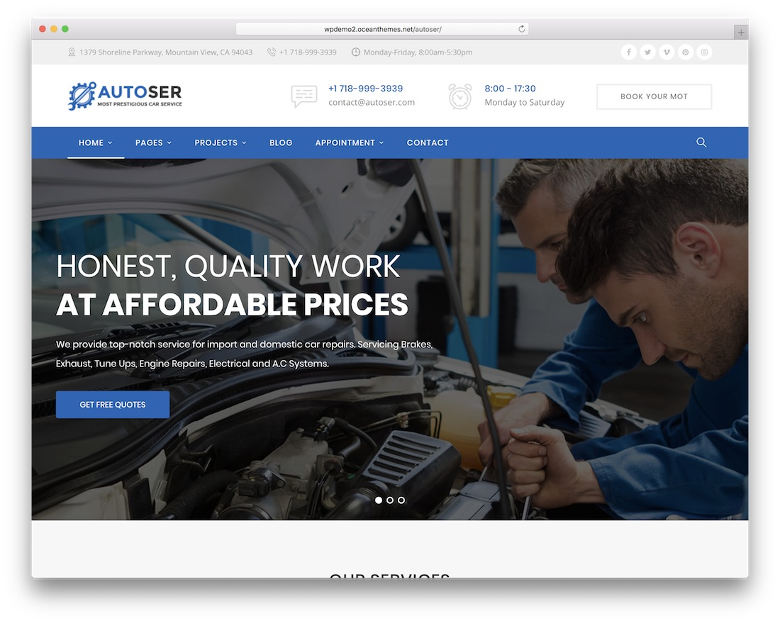 autoser auto service wordpress theme