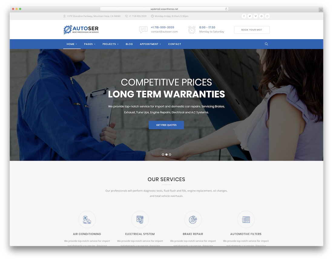 autoser automotive wordpress theme