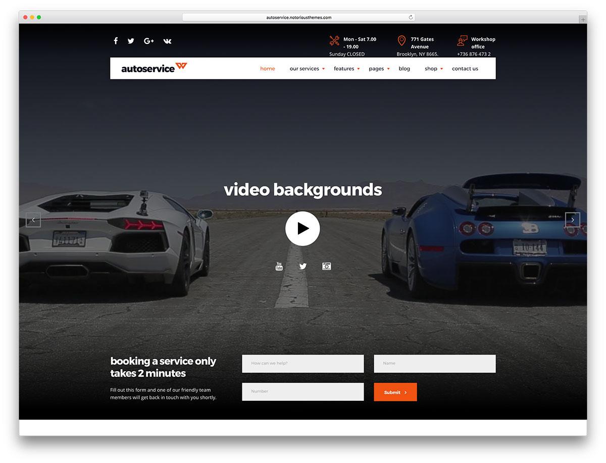 24 Auto Service / Car Repair Shop WordPress Themes 2019