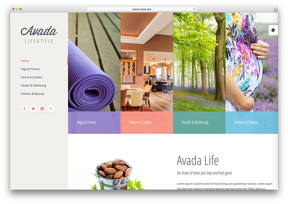 avada healthy living WordPress theme
