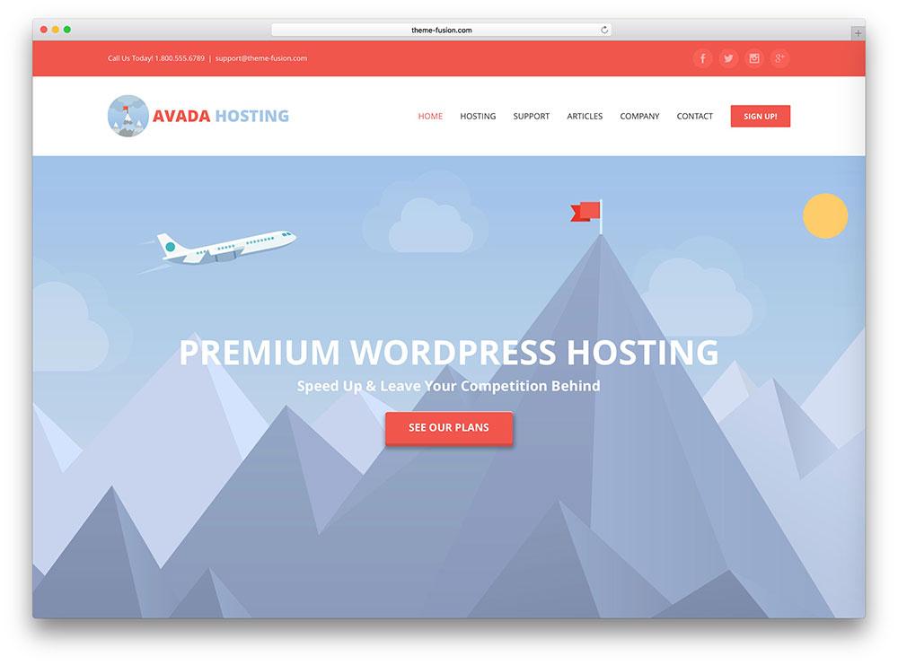 avada professional hosting theme