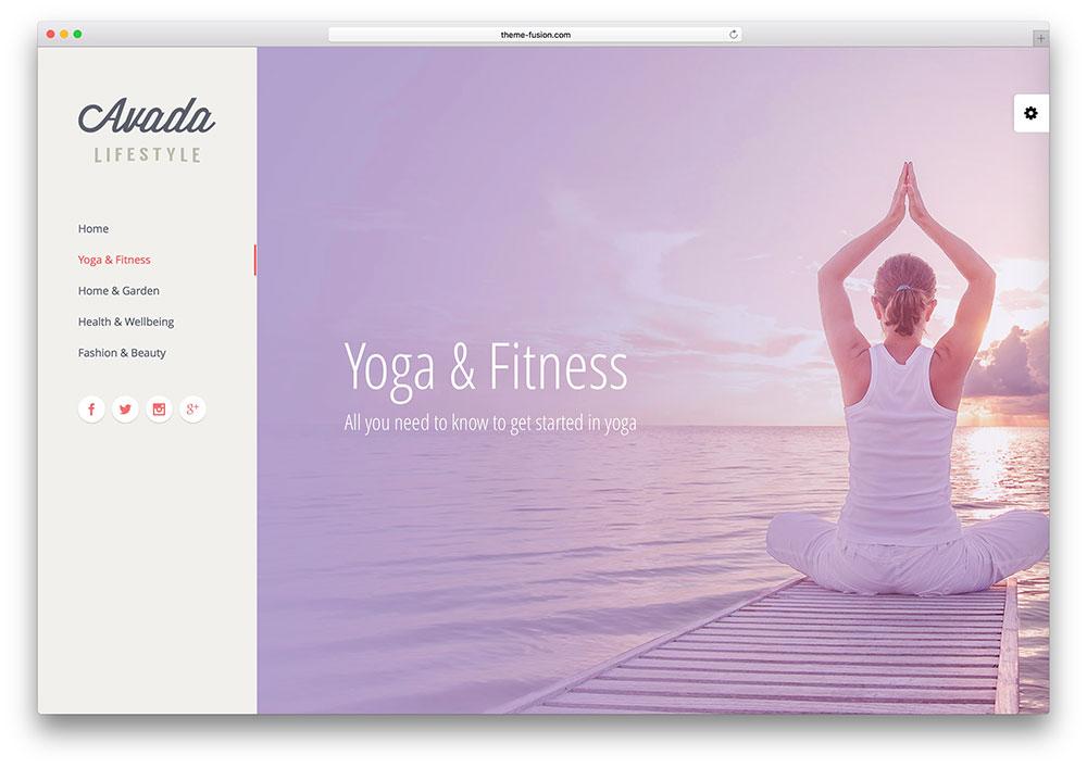 avada awesome yoga lifestyle theme