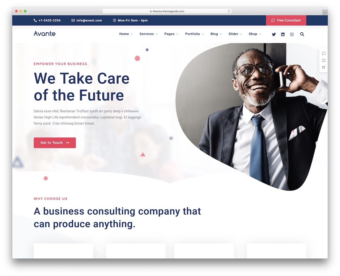 avante one page business theme