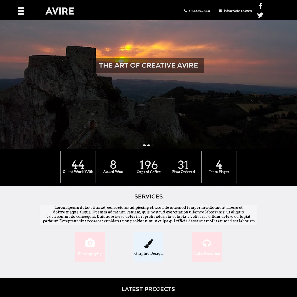 Avire free PSD template