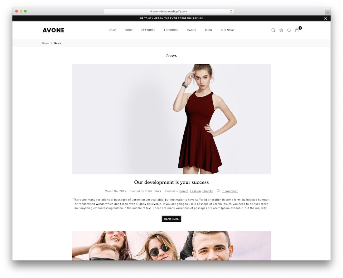 avone shopify blog theme