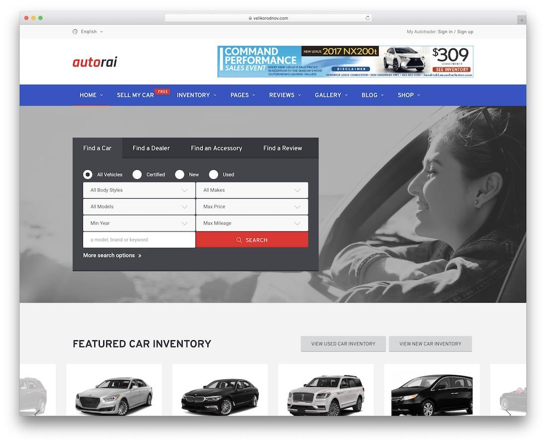 avtorai automotive wordpress theme