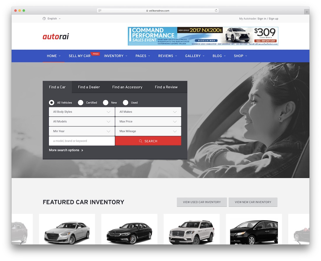 avtorai car rental wordpress theme