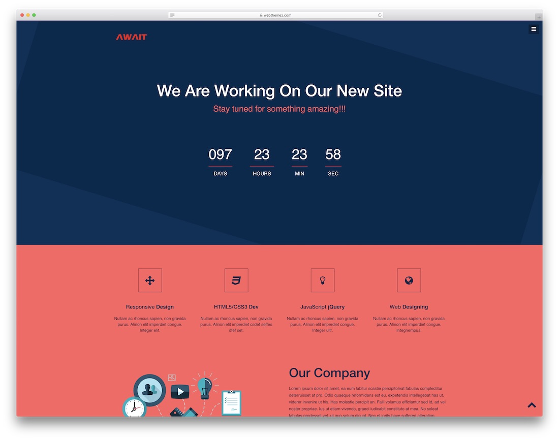 await coming soon free website template