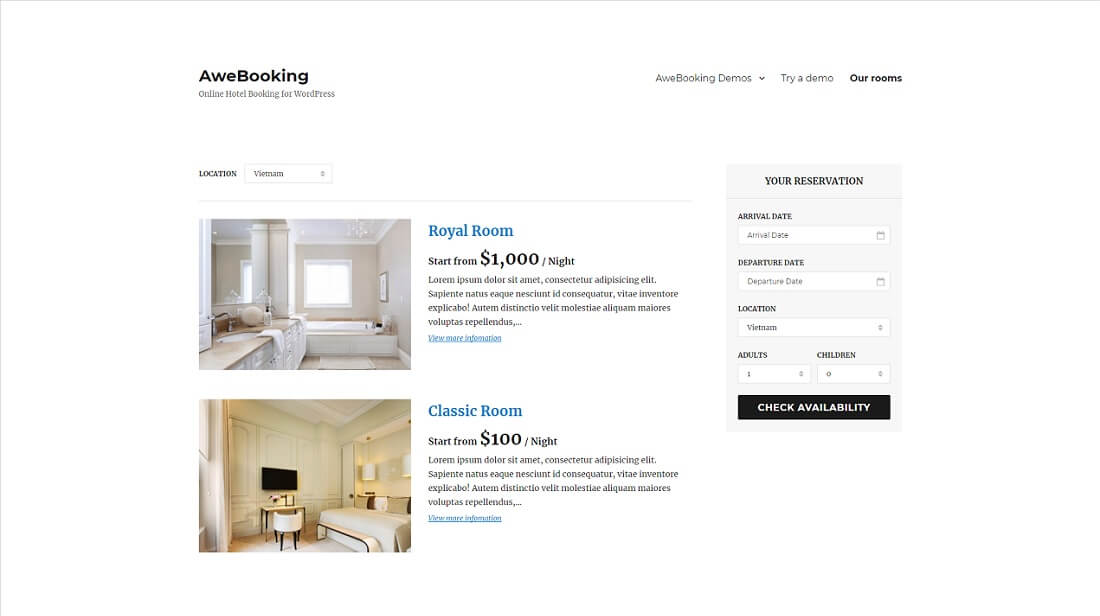 awebooking hotel booking system