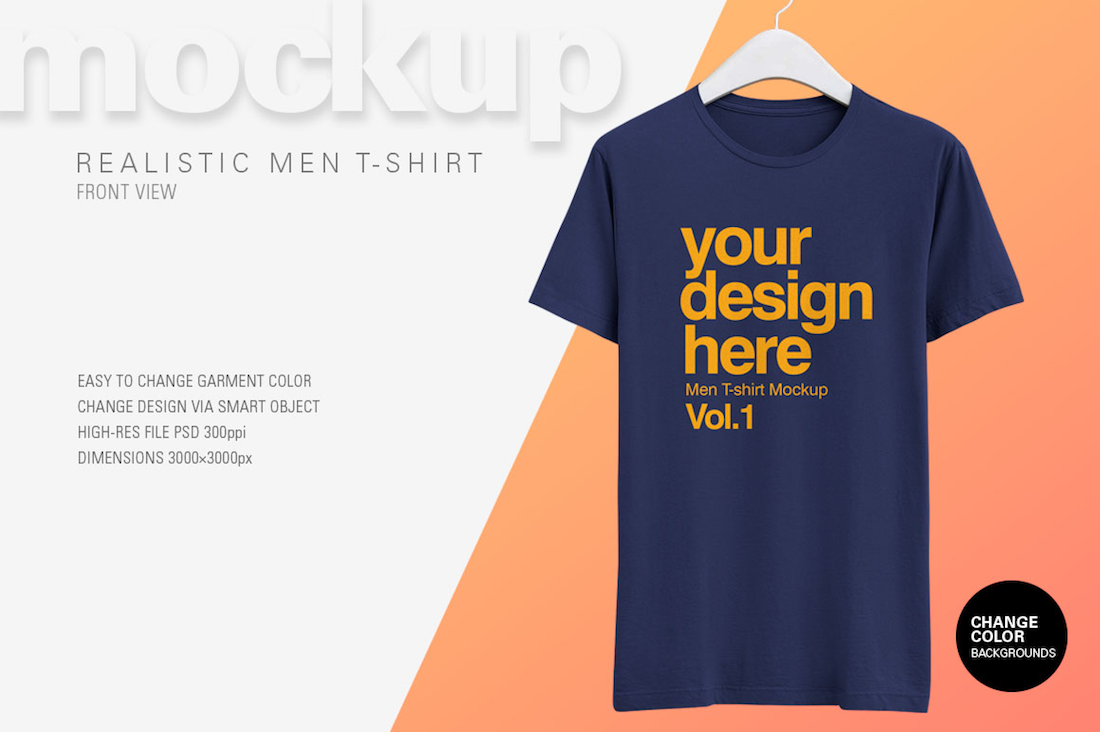 awesome men t-shirt psd mockup