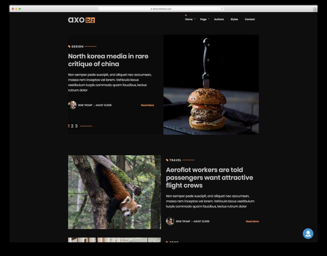 axobiz blog website template