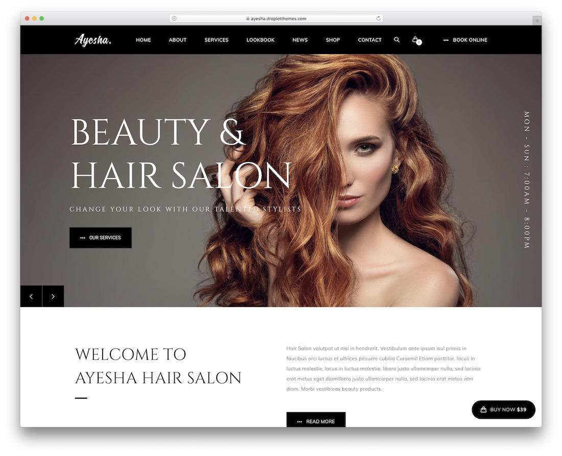 ayesha hair salon wordpress theme