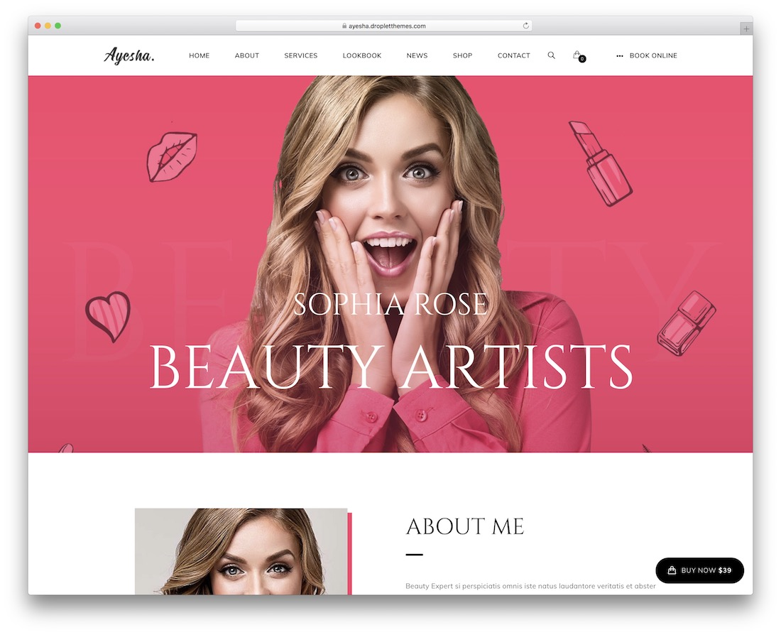 ayesha makeup artist wordpress theme
