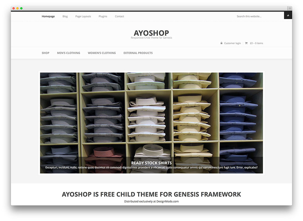 ayoshop - free minimal estore theme